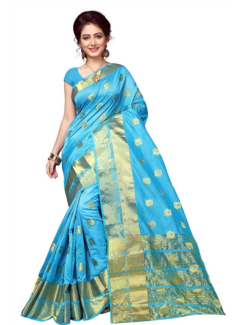Amazing Sky Blue Cotton Silk Casual Wear Zari Work Saree