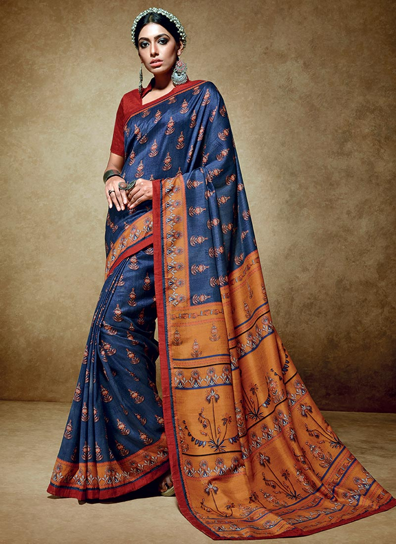 Charming Blue Tussar Silk Party Wear Printed Work Saree
