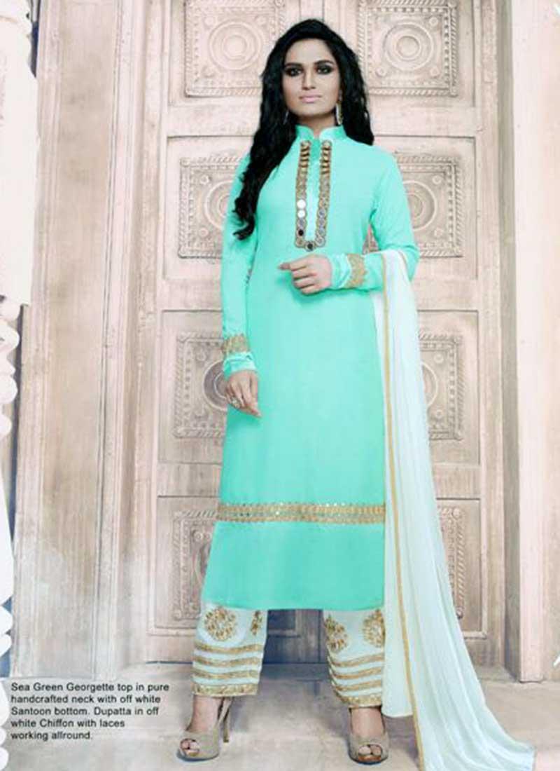 Beautiful Sea Green Georgette Plazo Salwar Suit