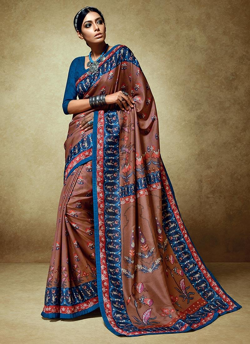 Ravishing Brown Tussar Silk Party Wear Printed Work Saree