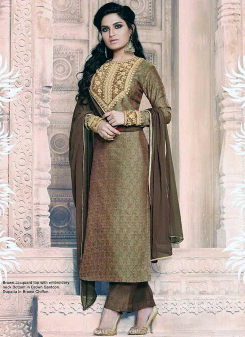Charming Brown Jacquard Embroidery Work Plaza Salwar Suit