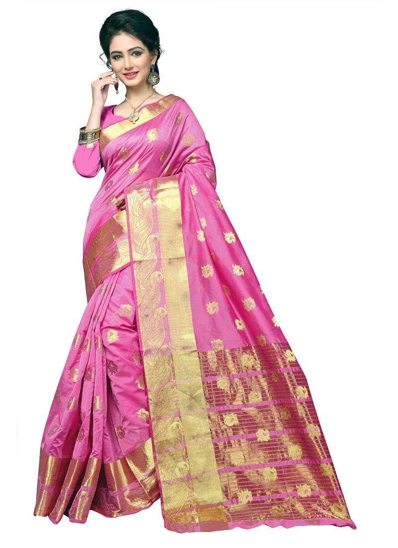 Royal Pink Cotton Silk Casual Wear Zari Work Saree