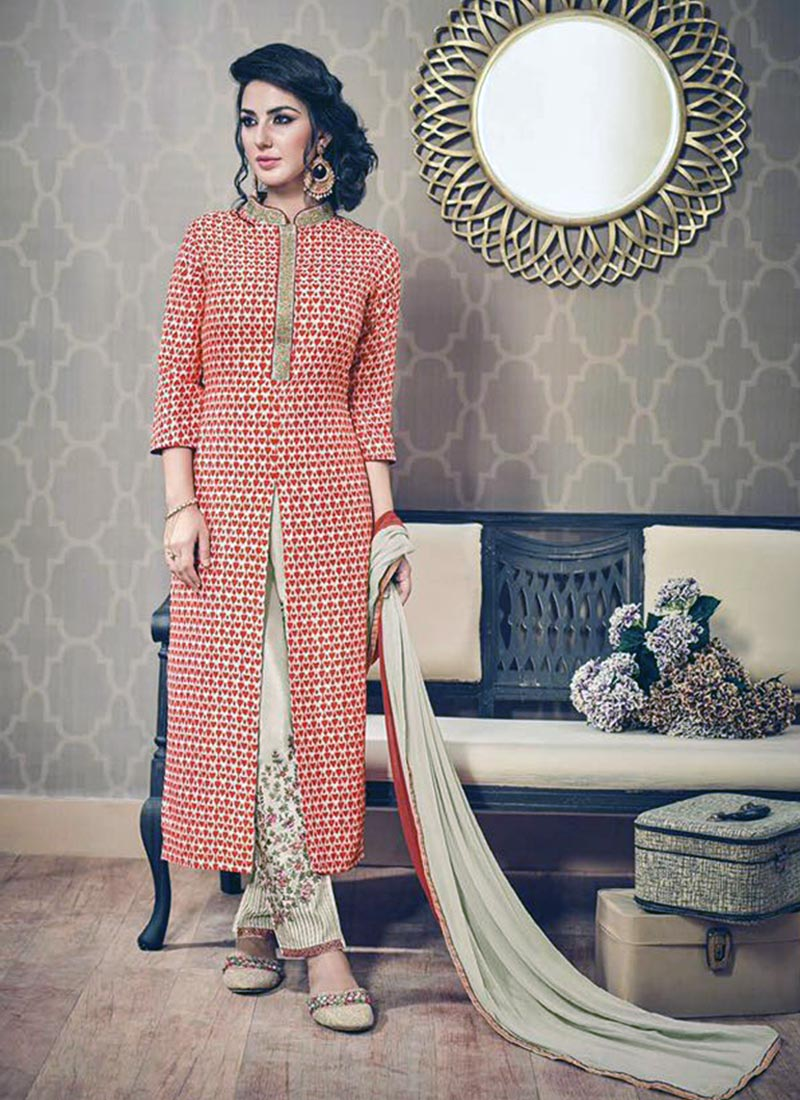 Desirable Peach Silk Printed Work Plazo Churidar Suit