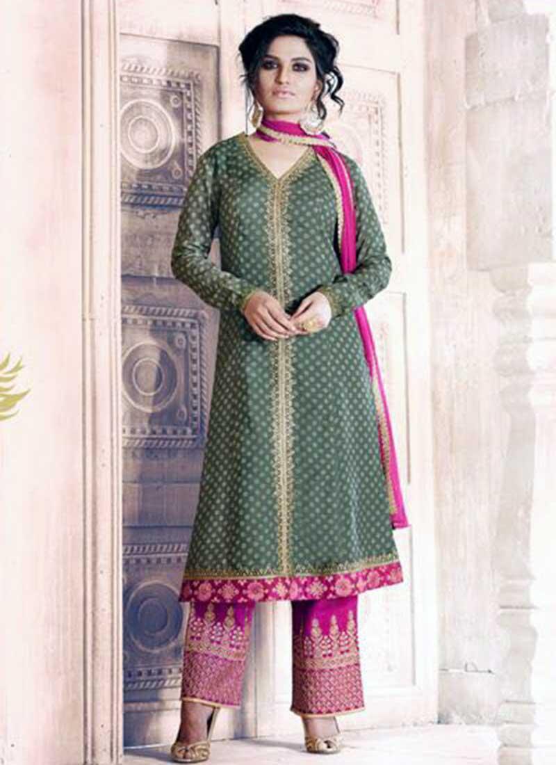 Impressive Green Georgette Plaza Salwar Suit