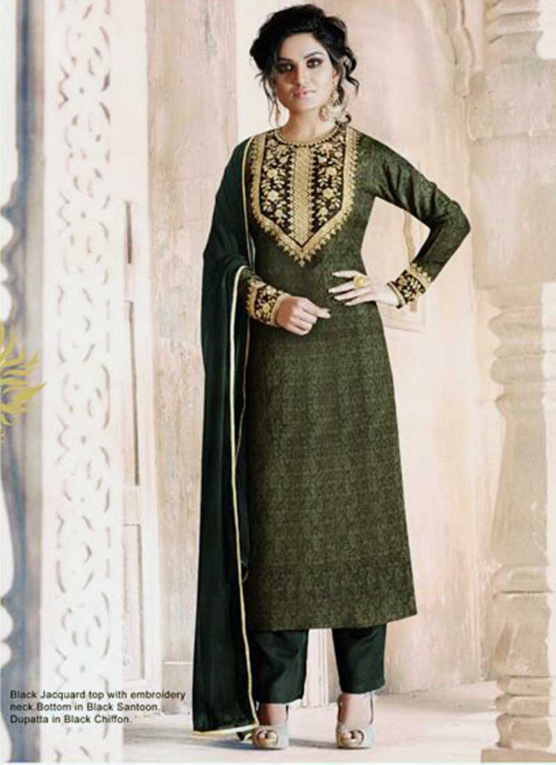 Alluring Green Jacquard Plazo Salwar Suit
