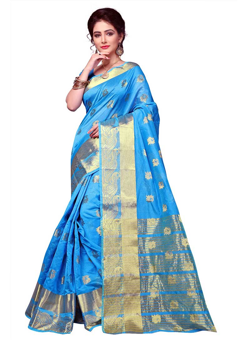 Alluring Sky Blue Cotton Silk Casual Wear Zari Work Saree