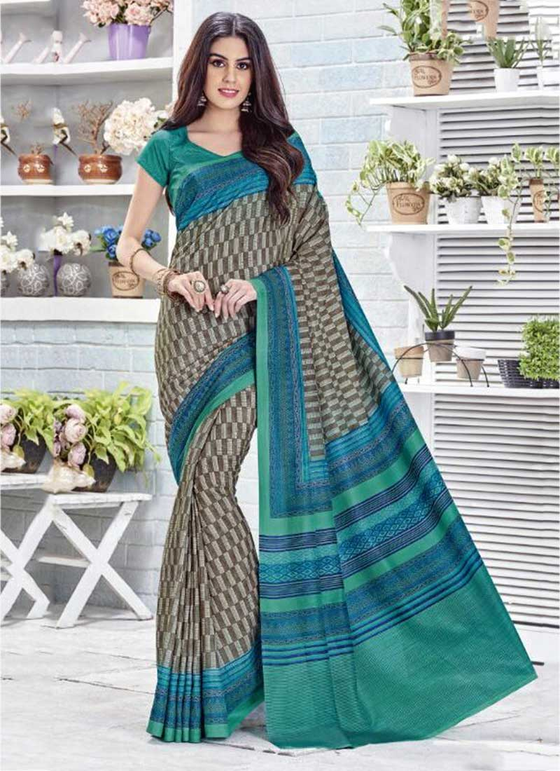 Wonderful Green Khadi Silk Printed Work Saree