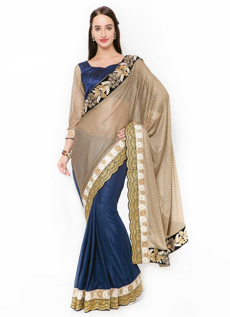 Enthralling Beige Lycra Wedding Wear Embroidery Work Saree