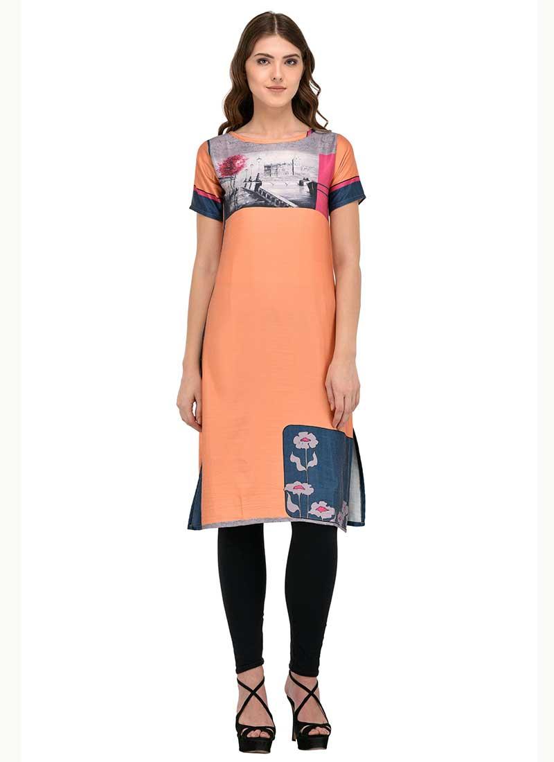 Vibrant Peach Cotton Office Wear Printed Work Kurti