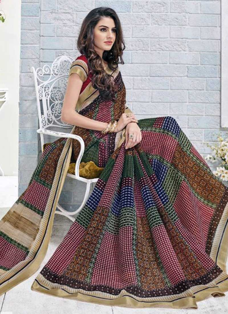 Genius Multi Color Khadi Silk Printed Work Saree