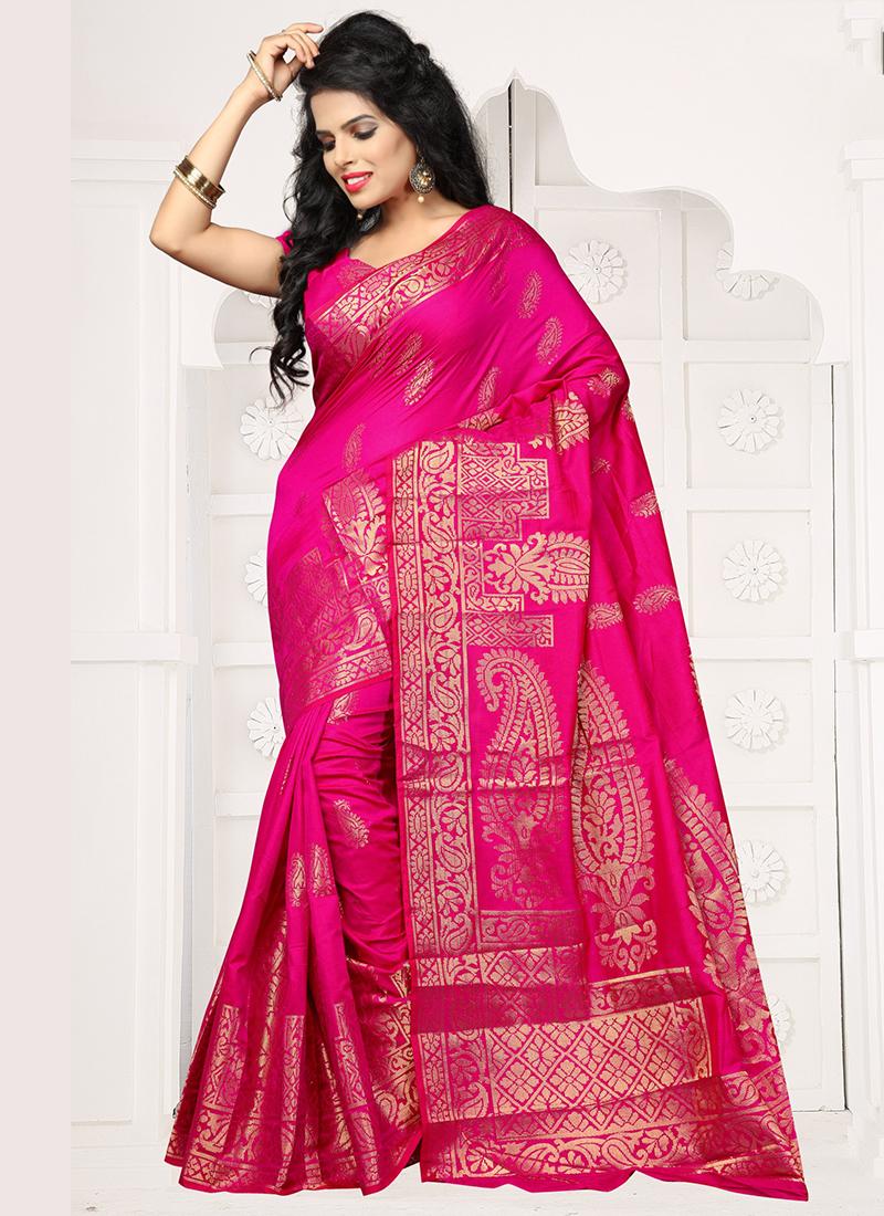 Mesmerizing Pink Banarasi Silk Zari Work Saree