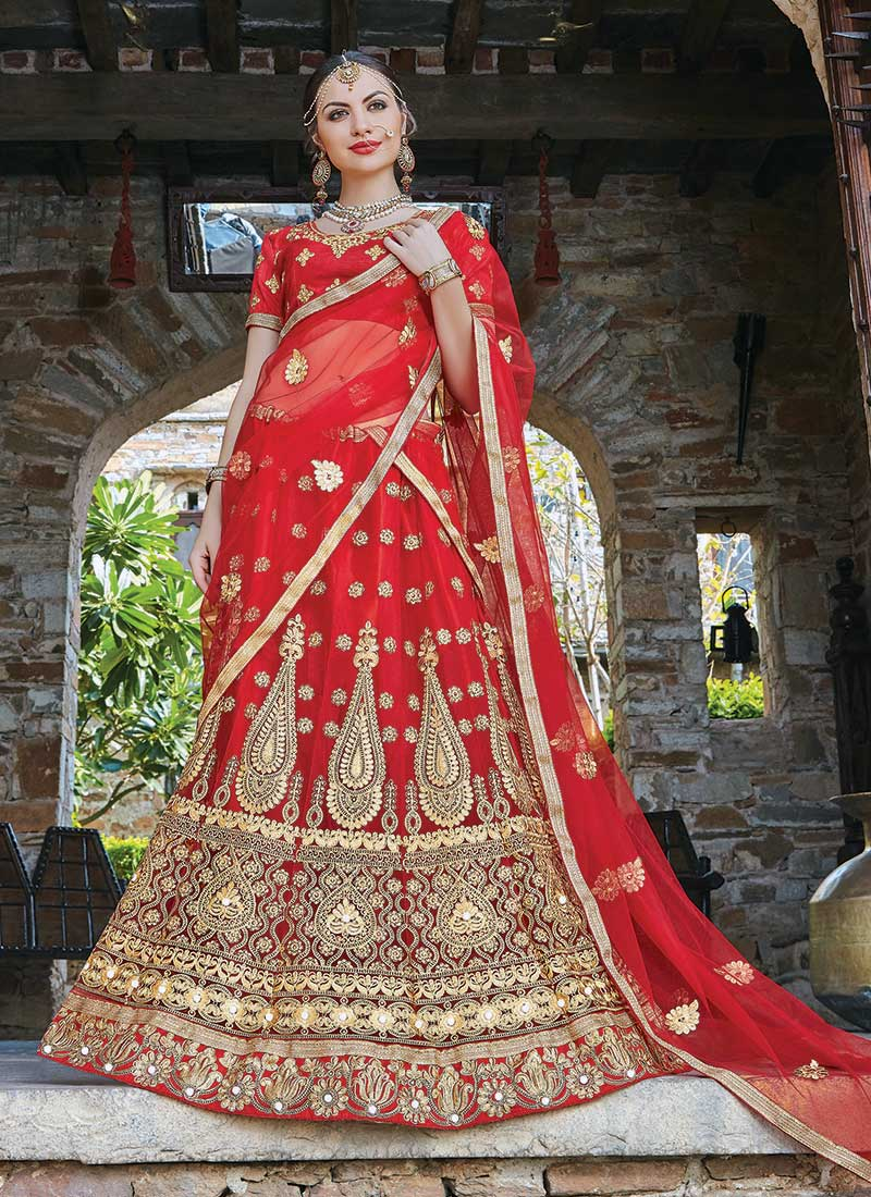 Gleaming Red Net Embroidery Work Lehenga Choli