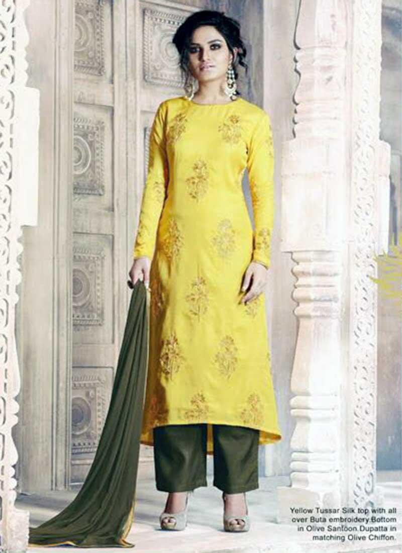 Vibrant Yellow Tussar Silk Plaza Designer Salwar Suit