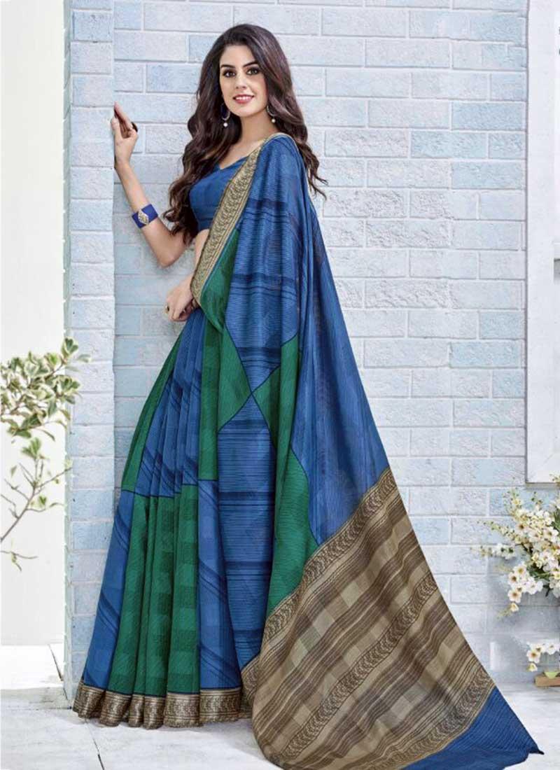Beautiful Blue Khadi Silk Printed Work Saree