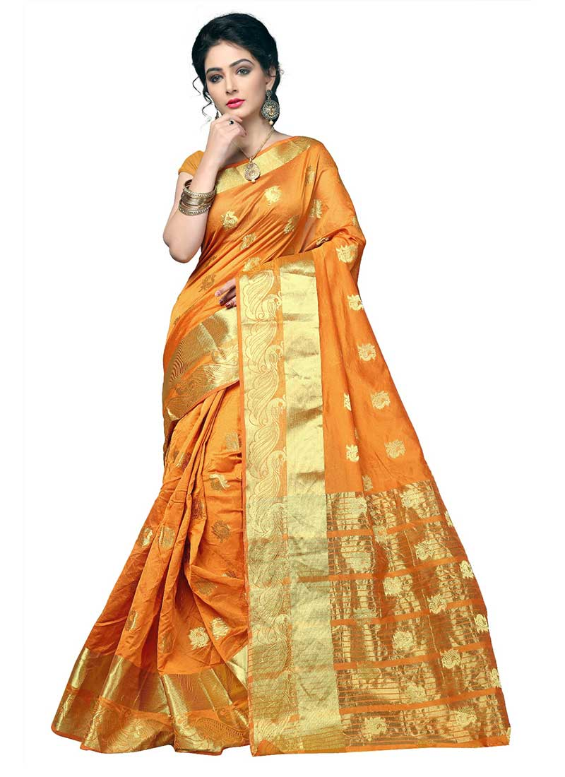 Enthralling Orange Cotton Silk Casual Wear Zari Work Saree