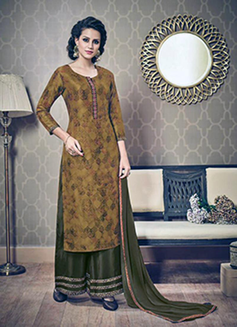 Smashing Mustard Silk Printed Work Plazo Churidar Suit