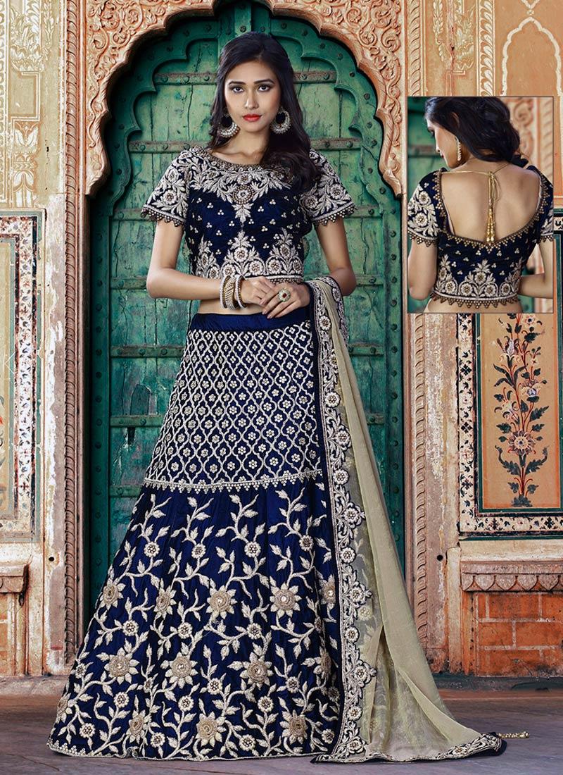 Lovely Navy Blue Velvet Embroidery Work Lehenga Choli