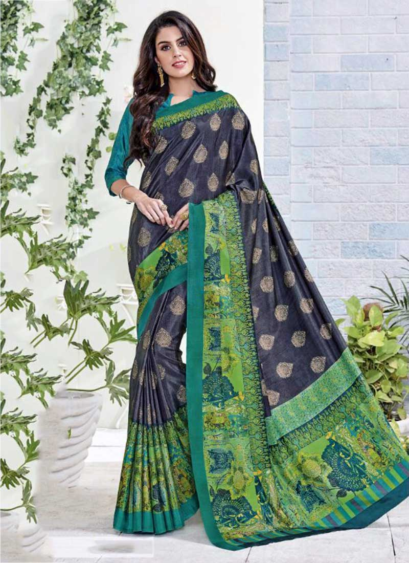Divine Green Khadi Silk Printed Work Saree