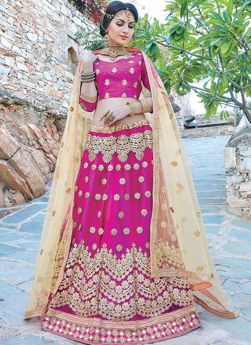 Angelic Rani Pink Net Embroidery Work Lehenga Choli