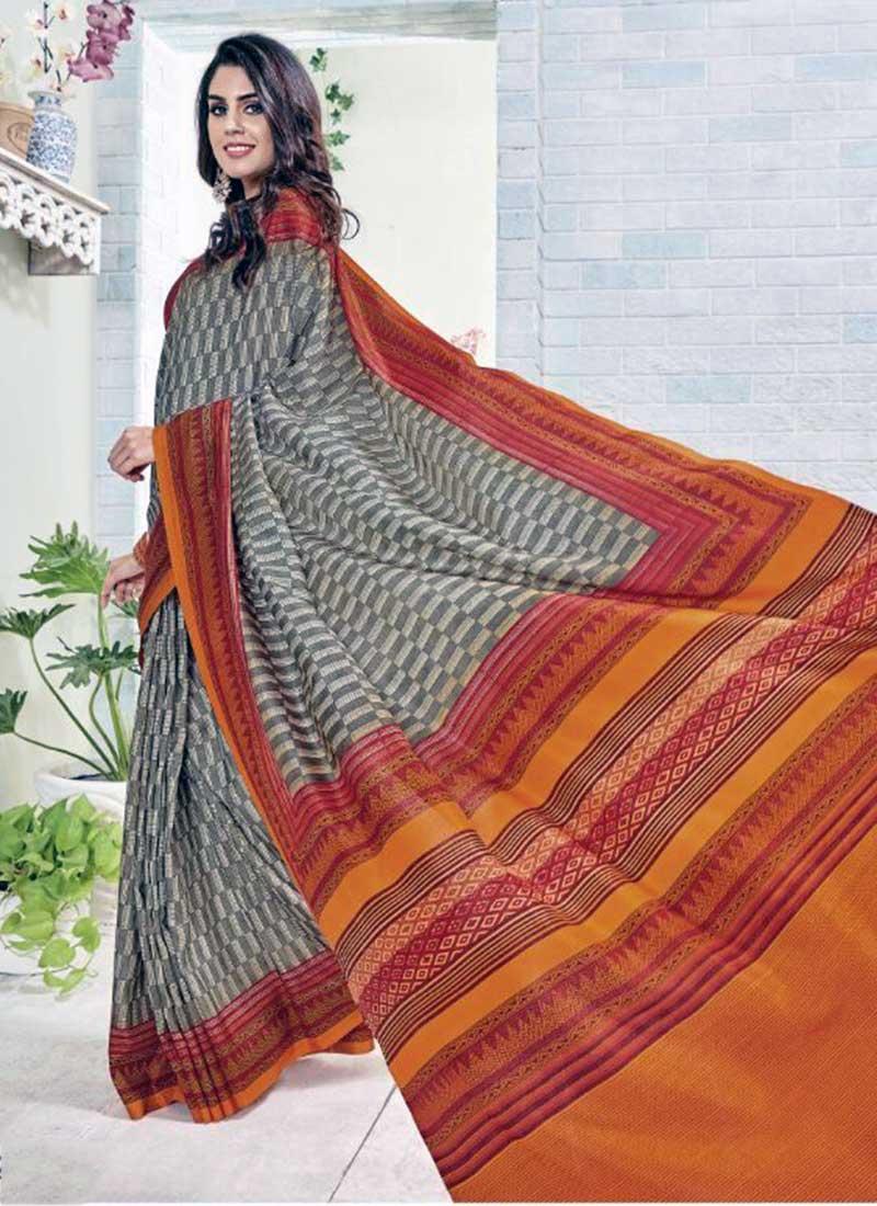 Attractive Orange Khadi Silk Printed Work Saree
