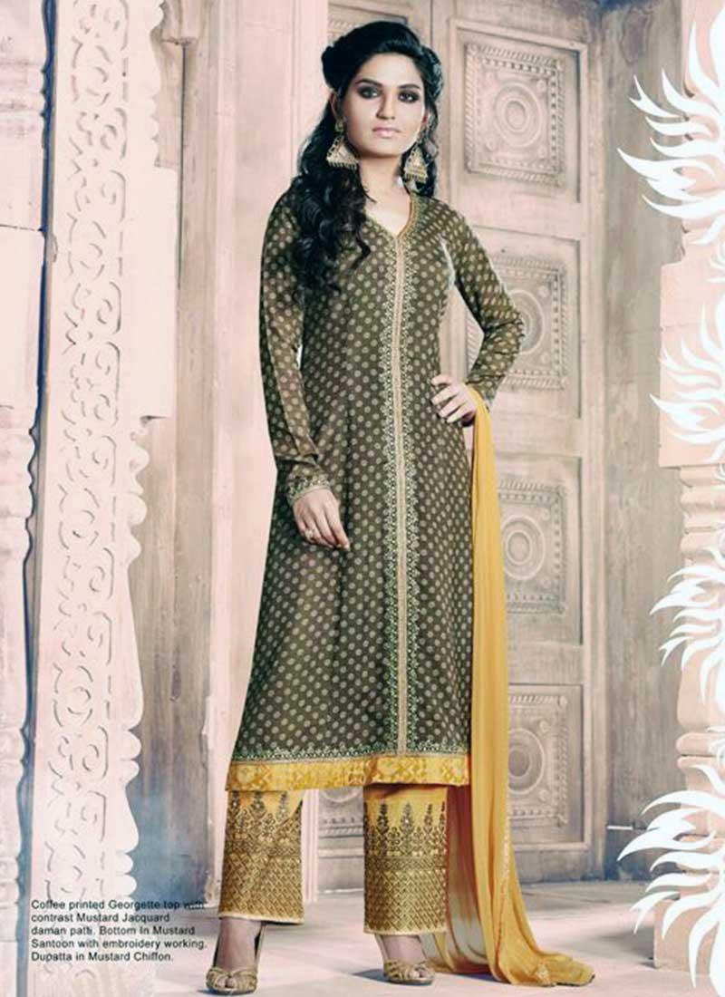 Lovely Brown Georgette Designer Salwar Suit
