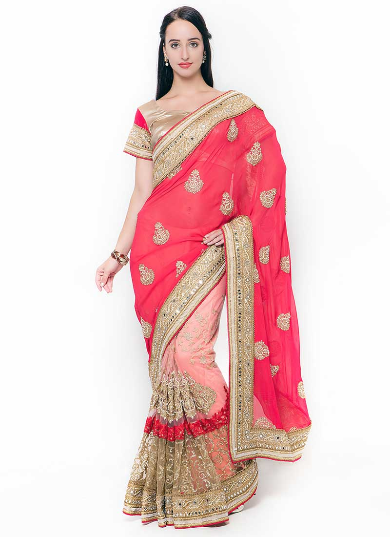 Pretty Gajri Georgette Wedding Wear Embroidery Work Saree