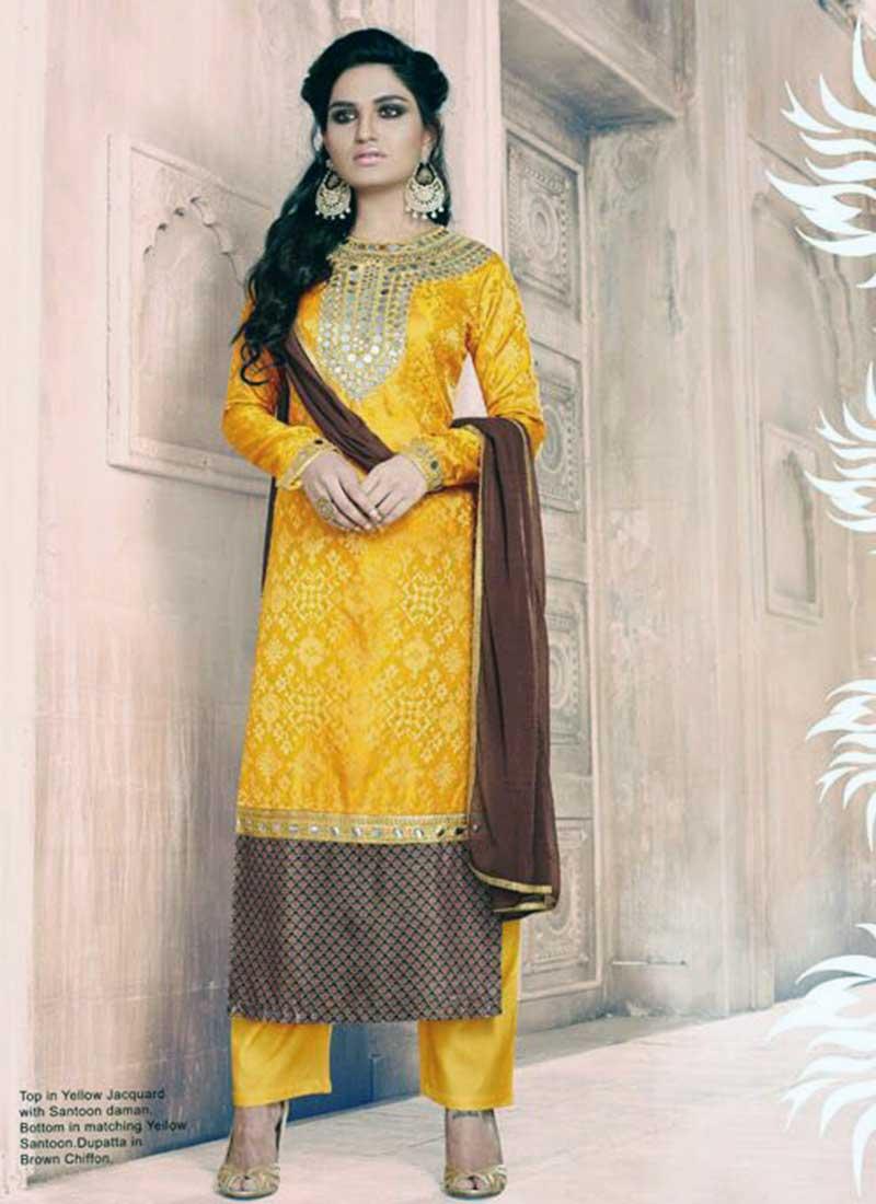Charming Yellow Jacquard Designer Salwar Suit