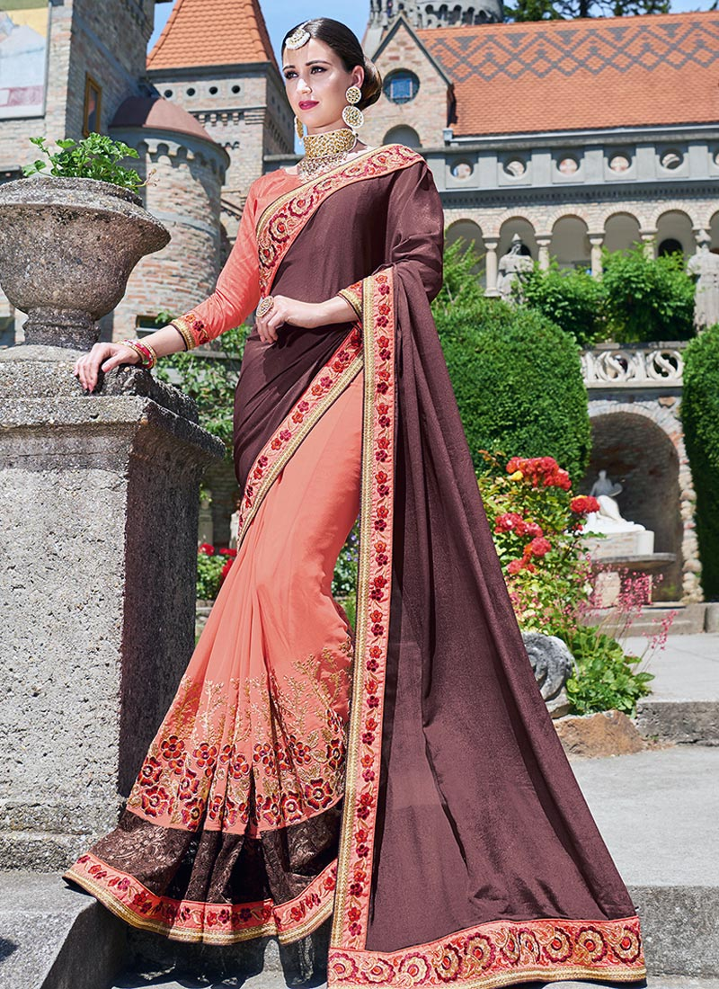 Pretty Brown Chiffon Party Wear Embroidery Work Saree
