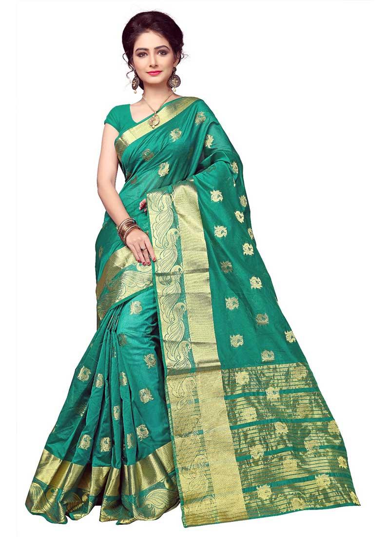 Honourable Green Cotton Silk Casual Wear Zari Work Saree