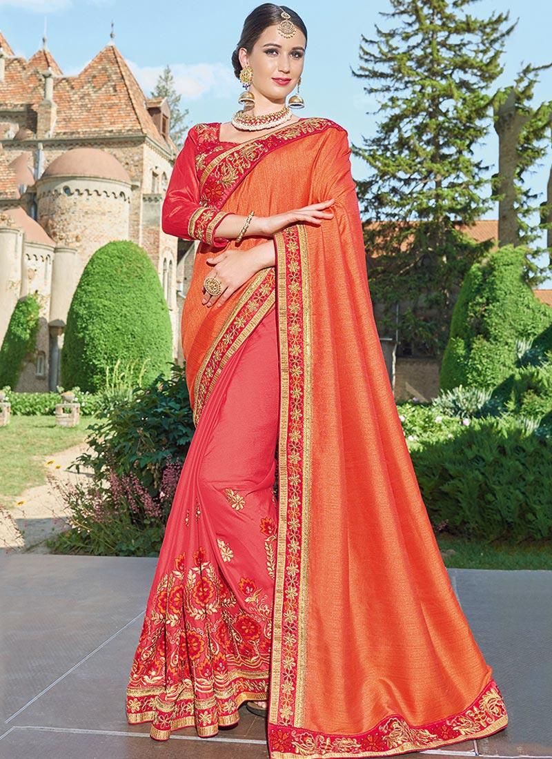 Dazzling Orange Chiffon Party Wear Embroidery Work Saree