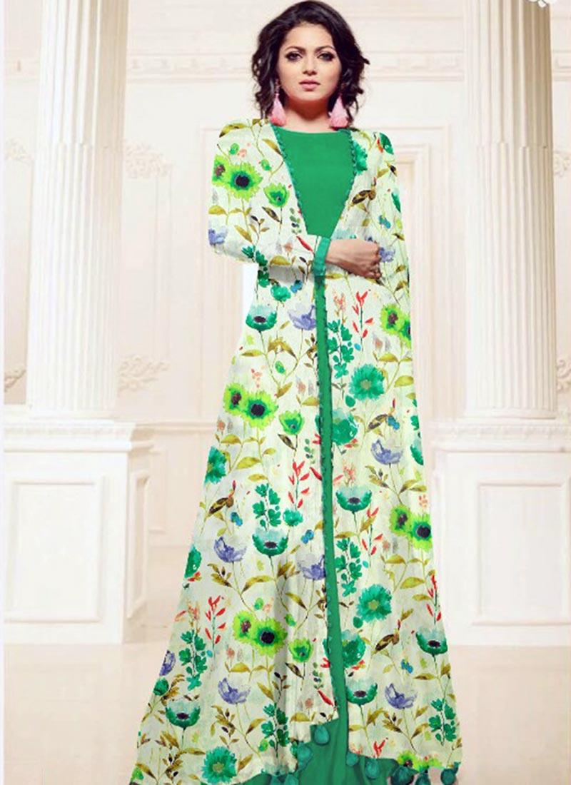 Tantalizing Green Cotton Silk Printed Work Kurti