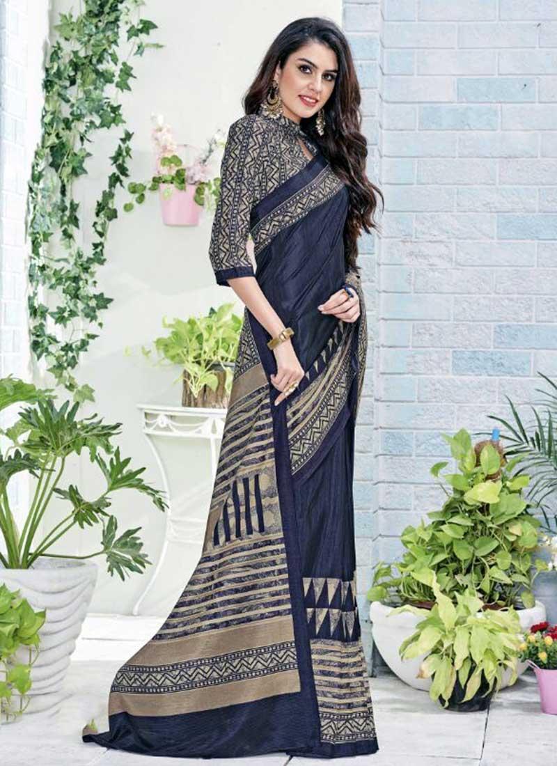 Pretty Grey Khadi Silk Printed Work Saree