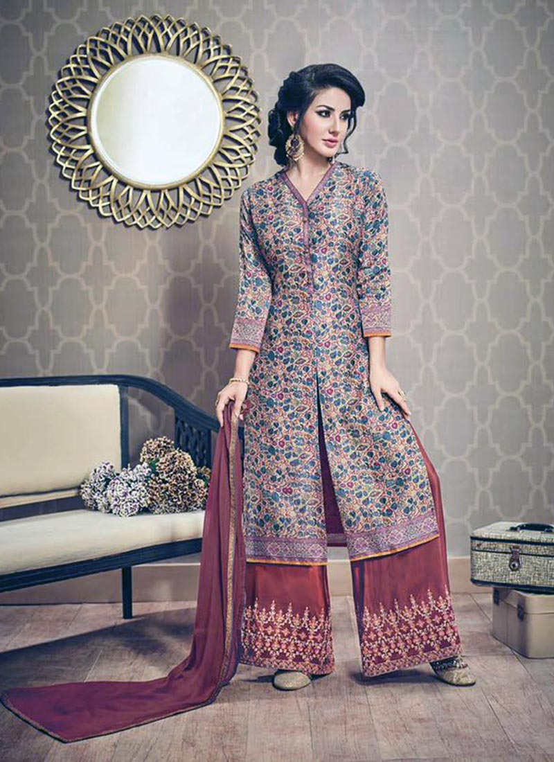 Elegance Brown Silk Printed Work Plazo Churidar Suit