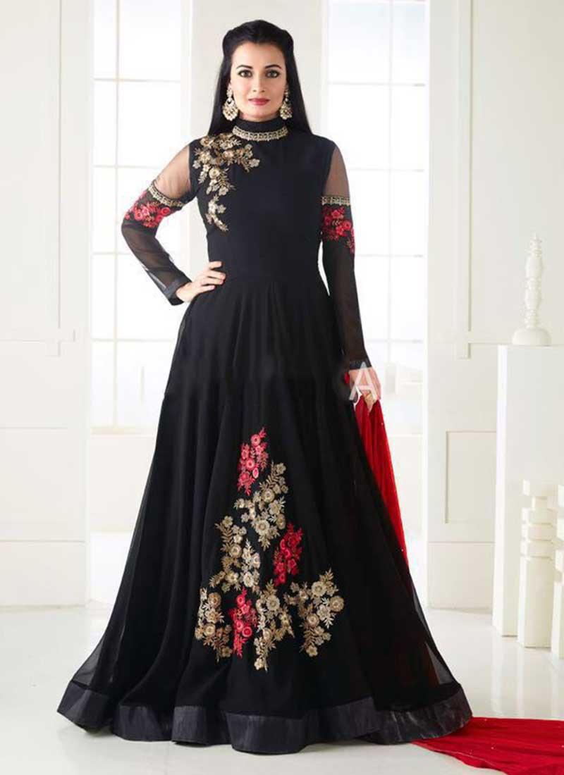 Beautiful Black Georgette Floor Length Designer Anarkali Suit