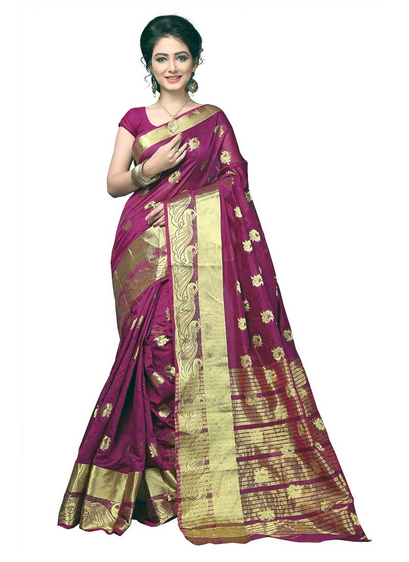 Tantalizing Violet Cotton Silk Casual Wear Zari Work Saree