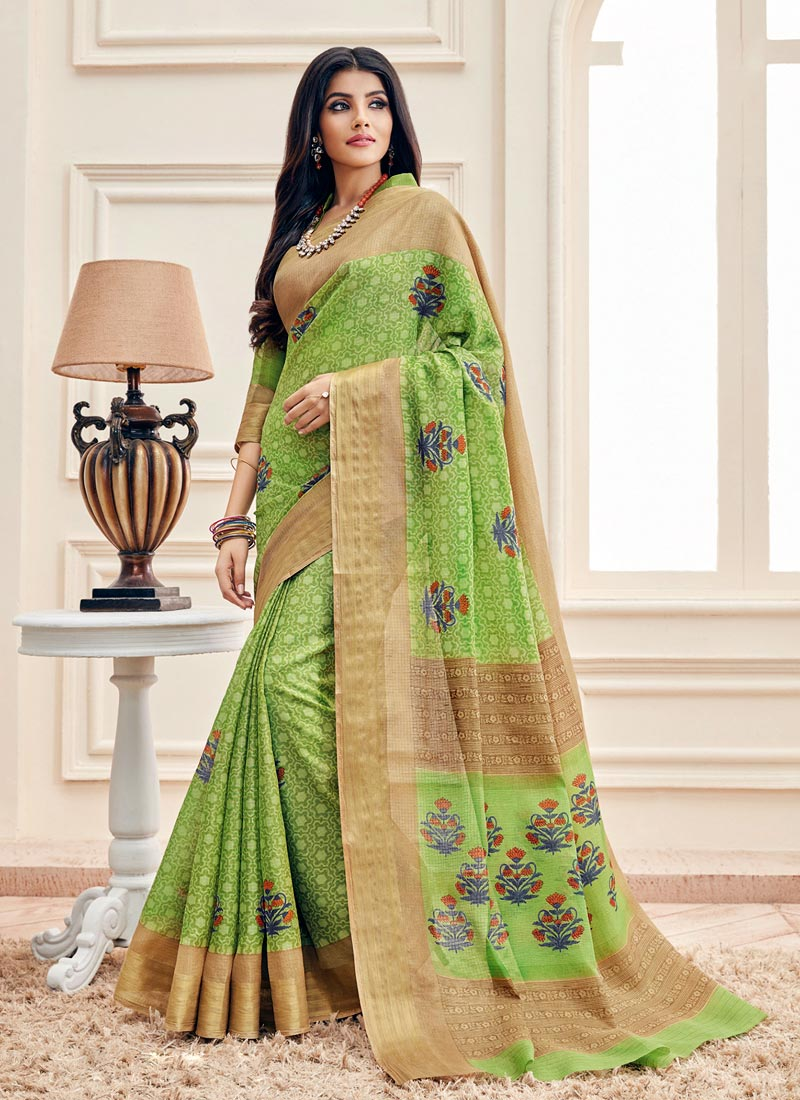 Beautiful Green Cotton Printed Designer Saree
