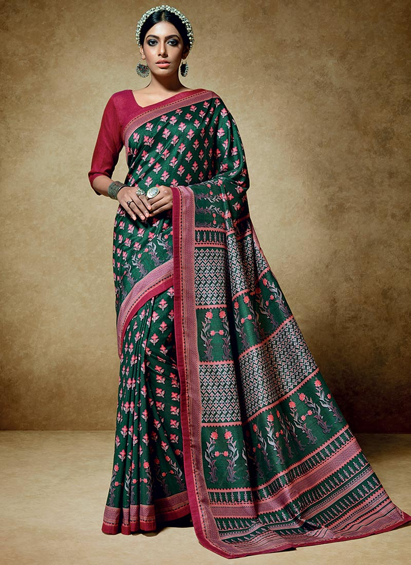 Engaging Green Tussar Silk Party Wear Printed Work Saree
