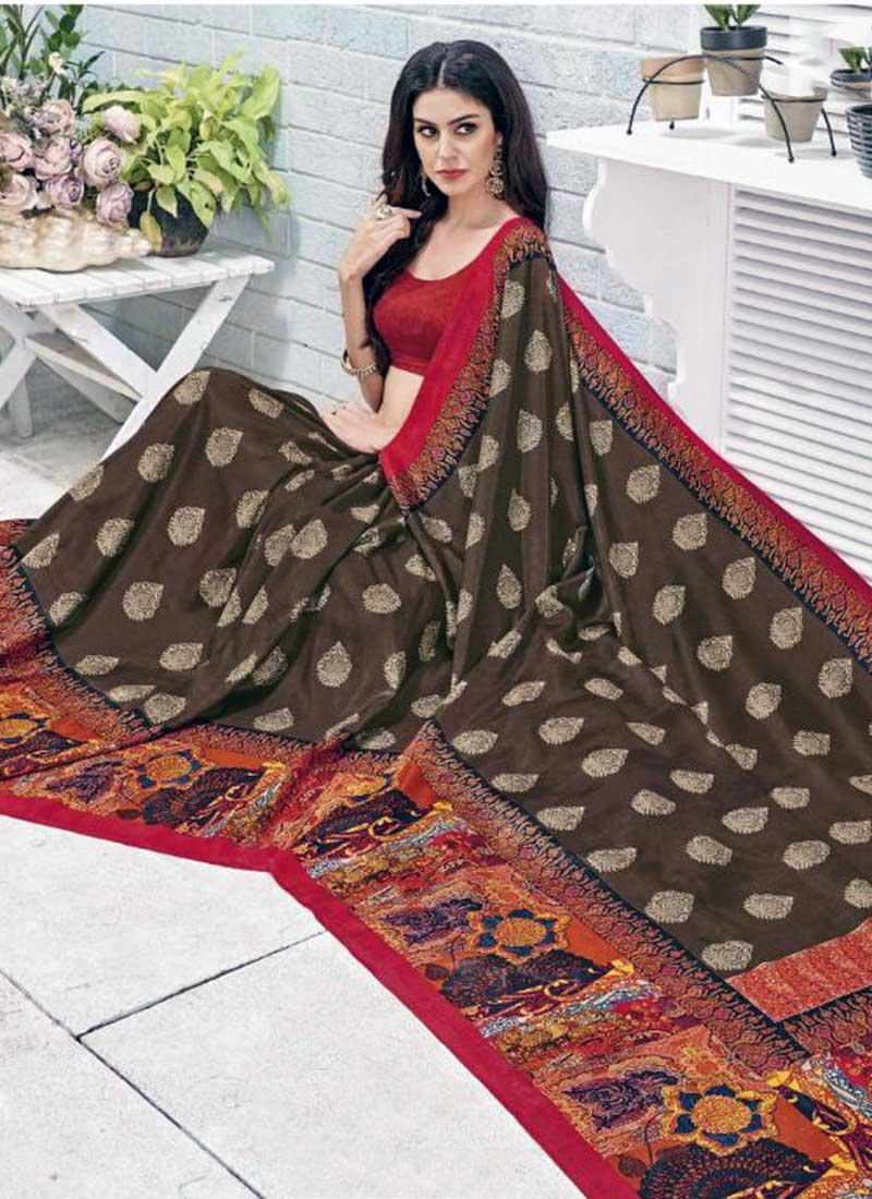 Vibrant Red Khadi Silk Printed Work Saree