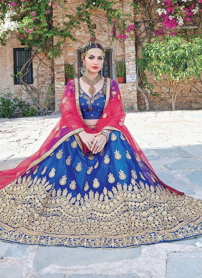 Integral Blue Net Embroidery Work Lehenga Choli