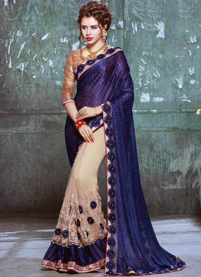 Alluring Navy Blue Georgette Silk Embroidery Work Saree