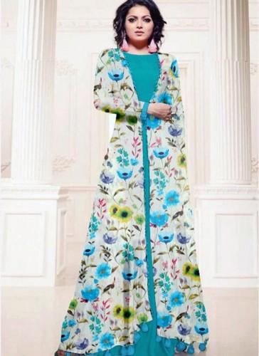Pretty Sky Blue Cotton Silk Printed Work Kurti