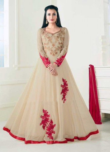 Wonderful Beige Georgette Floor Length Designer Anarkali Suit
