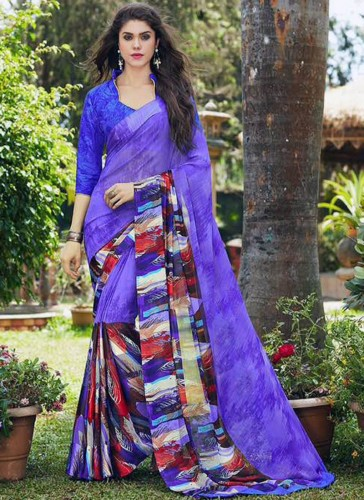 Beautiful Purple Georgette Designer Saree