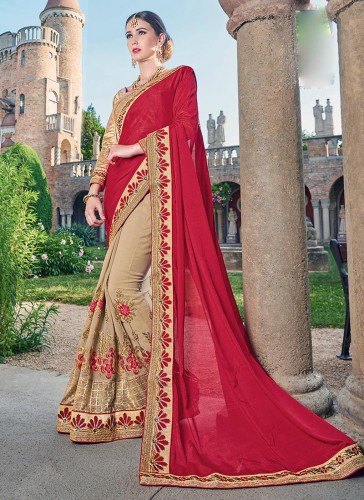 Elegance Red Georgette Party Wear Embroidery Work Saree