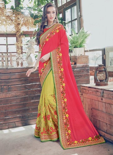Elegance Red Silk Embroidery Work Designer Saree