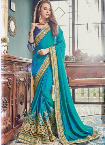 Pretty Sky Blue Jacquard Embroidery Work Designer Saree