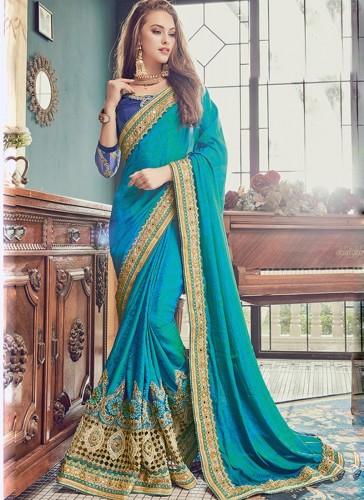 Pretty Sky Blue Jacquard Embroidery Work Designer Saree
