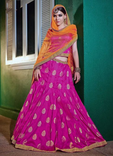 Amazing Rani Pink Brocade Embroidery Work Lehenga Choli