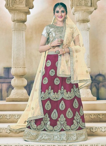 Wonderful Maroon Net Embroidery Work Lehenga Choli