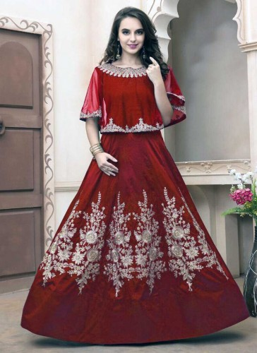 Pretty Maroon Tapeta Silk Embroidery Work Anarkali Suit
